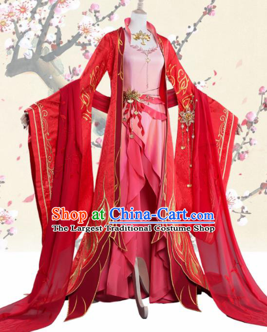 Chinese Cosplay Drama Princess Wedding Red Dress Traditional Ancient Female Swordsman Costume for Women