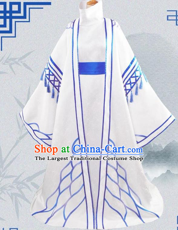 Chinese Cosplay Priest Swordsman Blue Hanfu Clothing Traditional Ancient Knight Costume for Men
