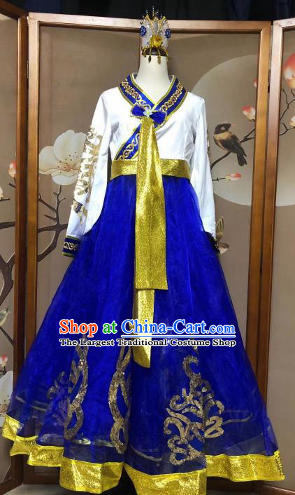 Chinese Korean Ethnic Stage Show Costumes Traditional Nationality Folk Dance Royalblue Dress for Women