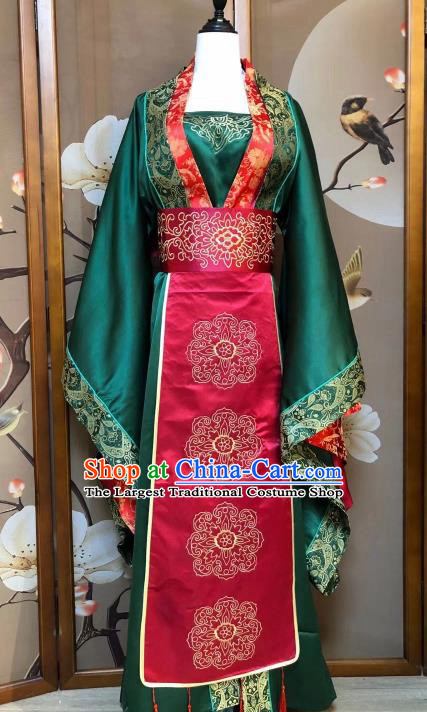 Chinese Classical Dance Green Dress Traditional Song Dynasty Weddding Costume for Women