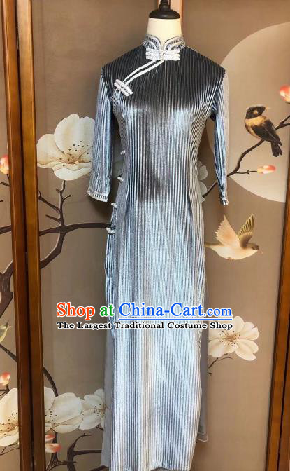 Chinese Classical Dance Grey Qipao Dress Traditional Stage Show Costume for Women