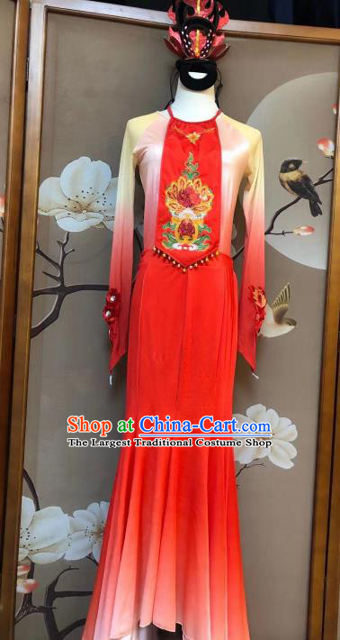 Chinese Classical Dance Fancy Carp Red Dress Traditional Stage Show Costume for Women