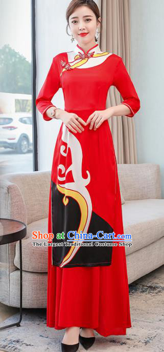 Vietnamese Traditional Printing Costume Asian Vietnam Red Ao Dai Dress for Women