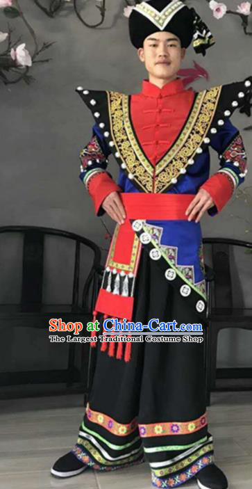 Chinese Dai National Minority Costumes Traditional Ethnic Stage Show Clothing for Men