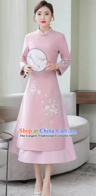 Chinese Traditional Compere Pink Cheongsam Costume China National Qipao Dress for Women