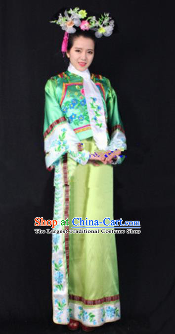 Chinese Qing Dynasty Princess Green Dress Traditional Ancient Court Lady Costume for Women