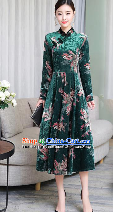 Chinese Traditional Printing Green Velvet Mother Cheongsam Costume China National Qipao Dress for Women