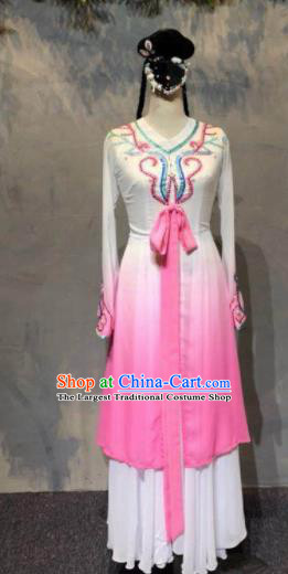 Chinese Classical Dance Pink Dress Traditional Fan Dance Stage Show Costume for Women