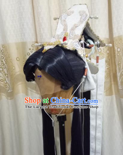 Custom Chinese Cosplay Crown Prince Swordsman Black Wigs Ancient Taoist Hair Chignon and Accessories for Men
