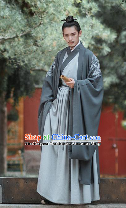 Chinese Ancient Ministry Councillor Embroidered Clothing Traditional Ming Dynasty Scholar Costumes for Men