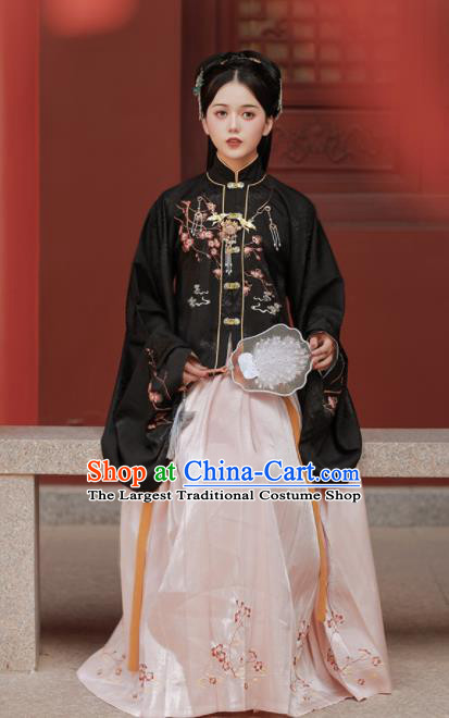 Chinese Ancient Nobility Lady Embroidered Black Blouse and Skirt Traditional Ming Dynasty Princess Costumes for Women