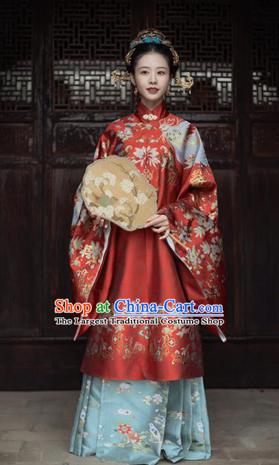 Chinese Ancient Royal Empress Embroidered Red Gown and Skirt Traditional Ming Dynasty Wedding Costumes for Women