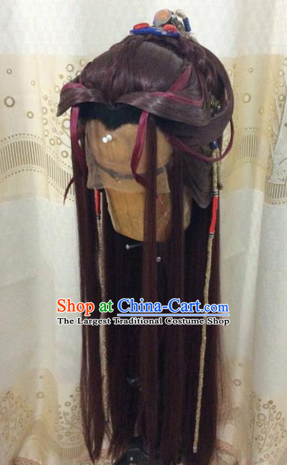 Custom Chinese Cosplay Young Man Brown Wigs Ancient Swordsman Hair Chignon and Accessories for Men