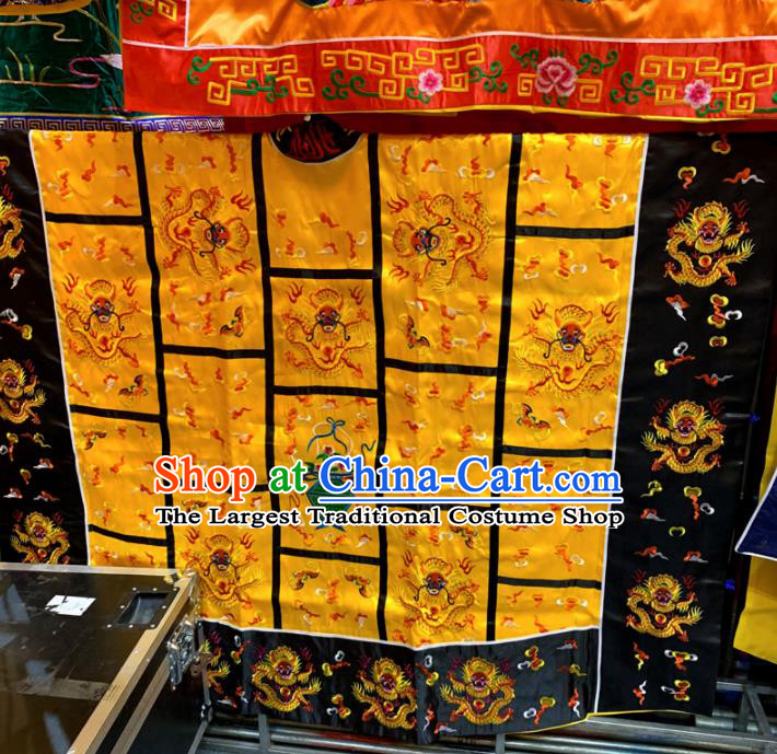 Chinese Taoism Embroidered Dragon Yellow Priest Frock Cassock Traditional Taoist Rite Costume for Men