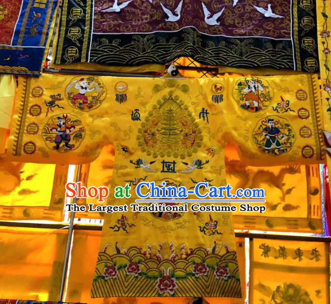 Chinese Taoism Embroidered Golden Silk Priest Frock Cassock Traditional Taoist Rite Costume for Men