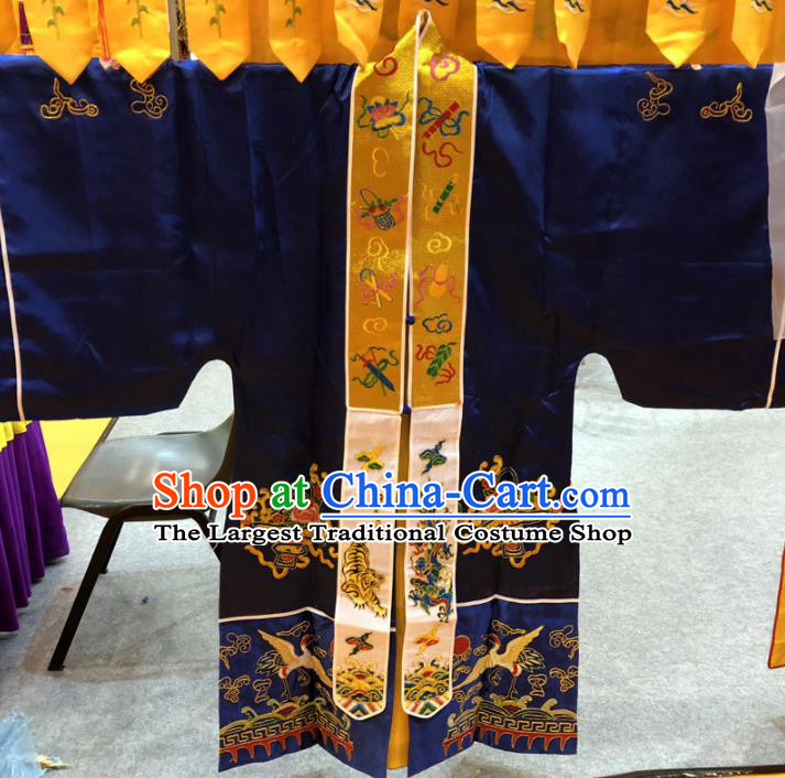 Chinese Taoism Embroidered Cranes Dragon Royalblue Silk Priest Frock Cassock Traditional Taoist Rite Costume for Men