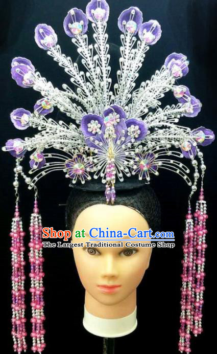Chinese Traditional Peking Opera Queen Purple Phoenix Hairpins Handmade Beijing Opera Diva Hair Accessories for Women
