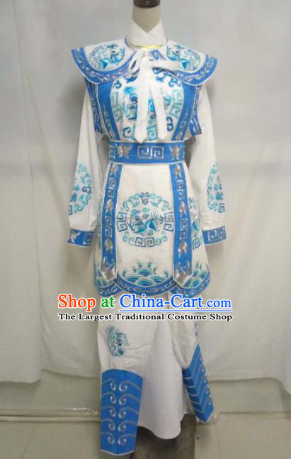 Chinese Traditional Peking Opera Takefu Embroidered Blue Costume Handmade Ancient Swordsman Clothing for Men