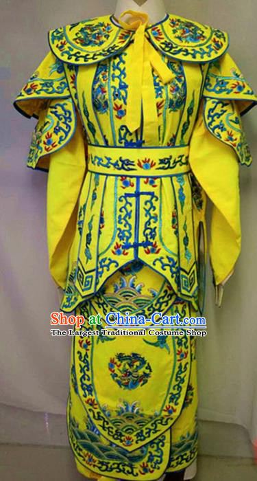 Chinese Traditional Peking Opera Takefu Embroidered Yellow Costume Handmade Ancient Swordsman Clothing for Men
