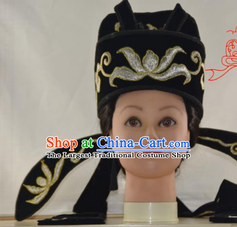 Chinese Traditional Peking Opera Scholar Black Hat Handmade Ancient Nobility Childe Headwear for Men