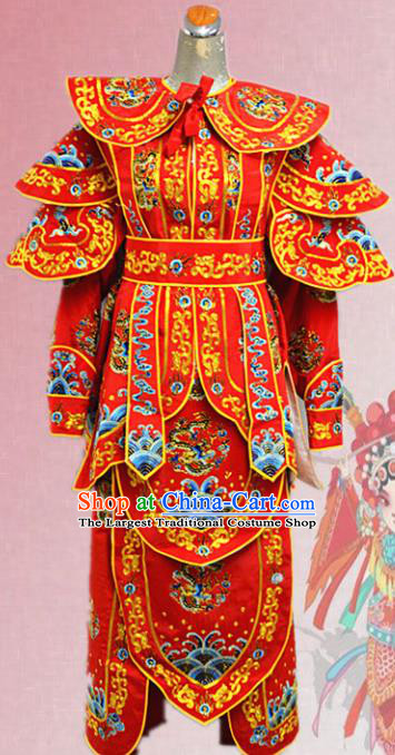 Chinese Traditional Peking Opera Swordsman Red Embroidered Costume Ancient Imperial Bodyguard Clothing for Men