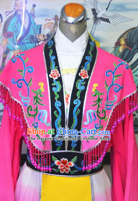 Chinese Traditional Peking Opera Queen Rosy Embroidered Dress Ancient Empress Costume for Women