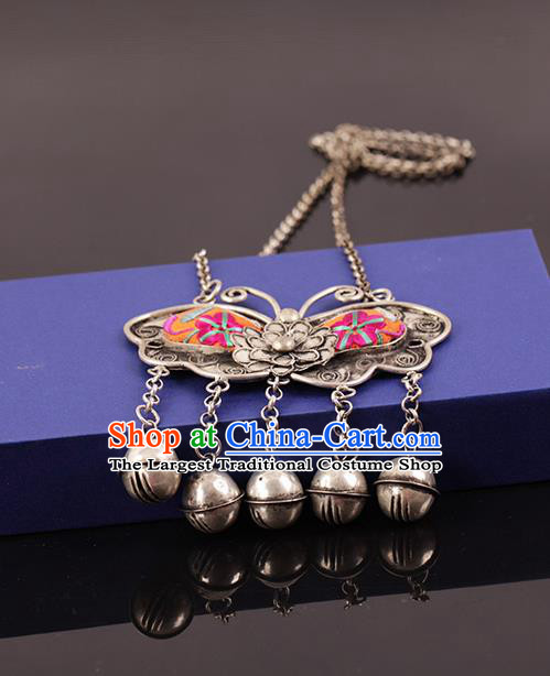 Chinese Traditional Miao Nationality Pink Butterfly Necklace Handmade Ethnic Silver Necklet Accessories for Women