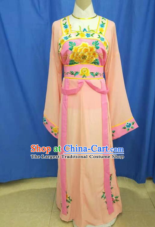 Chinese Traditional Peking Opera Servant Girl Orange Dress Ancient Court Maid Costume for Women