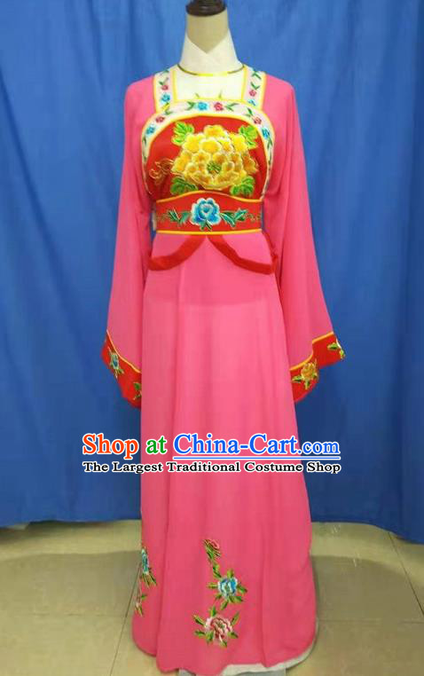 Chinese Traditional Peking Opera Servant Girl Rosy Dress Ancient Court Maid Costume for Women