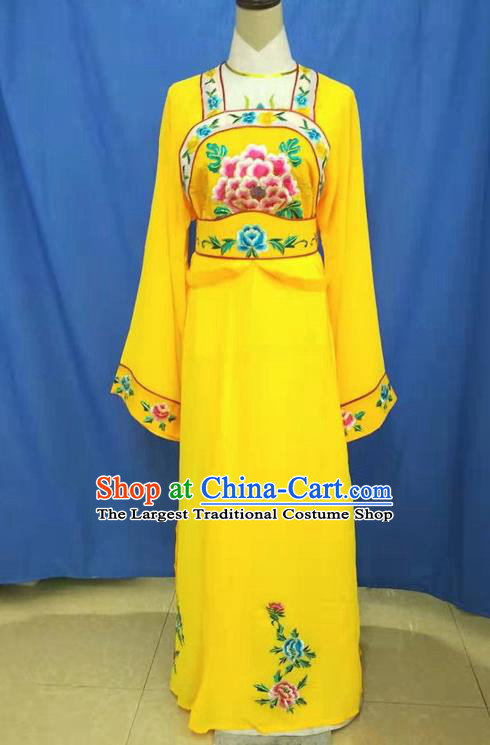 Chinese Traditional Peking Opera Servant Girl Yellow Dress Ancient Court Maid Costume for Women