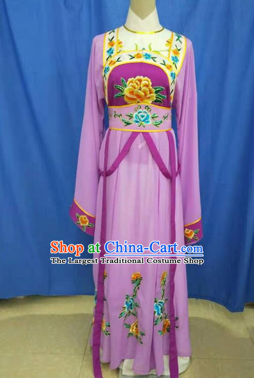 Chinese Traditional Peking Opera Servant Girl Purple Dress Ancient Court Maid Costume for Women