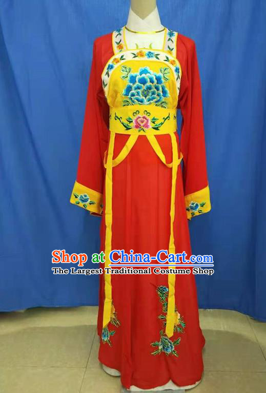 Chinese Traditional Peking Opera Servant Girl Red Dress Ancient Court Maid Costume for Women