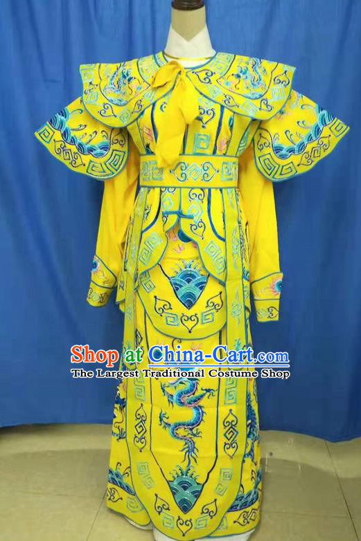 Chinese Traditional Peking Opera Takefu Embroidered Blue Dragon Kao Costume Handmade Ancient Swordsman Clothing for Men
