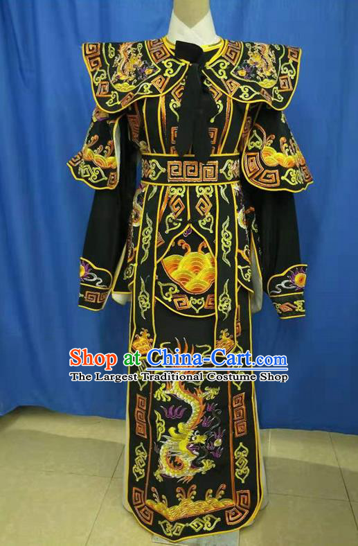 Chinese Traditional Peking Opera Takefu Embroidered Black Kao Costume Handmade Ancient Swordsman Clothing for Men
