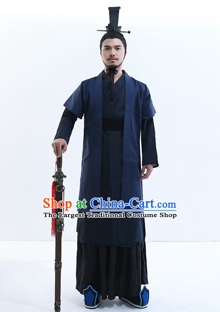 Yue Fei Superhero General Ancient Style Costume Hanfu Dresses Han Fu Garment Outfits Complete Set for Men