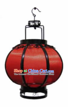 Chinese Classical Red Veil Round Palace Lantern Traditional Handmade Ironwork Ceiling Lamp