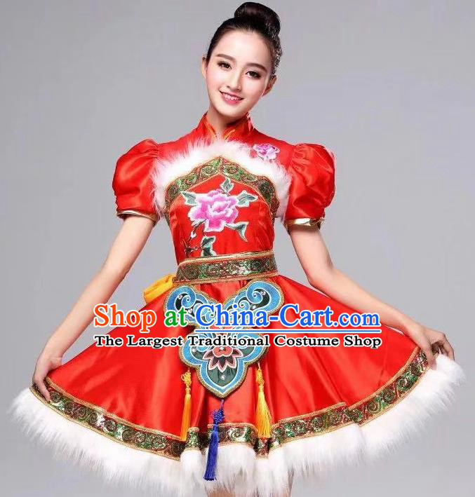 Chinese Traditional Folk Dance Red Dress Yanko Dance Costume for Women