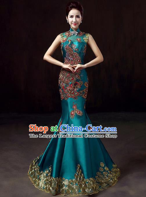 Top Grade Compere Embroidered Peacock Blue Full Dress Annual Gala Stage Show Chorus Costume for Women