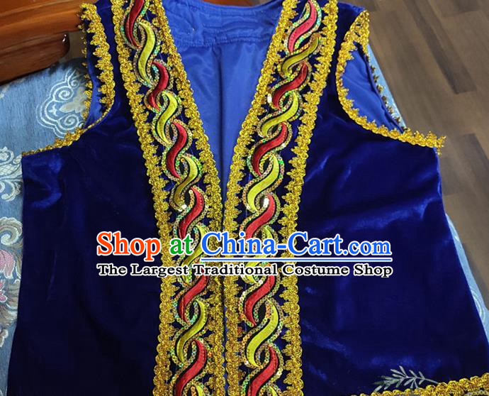 Chinese Traditional Uyghur Nationality Royalblue Vest Ethnic Folk Dance Stage Show Costume for Men