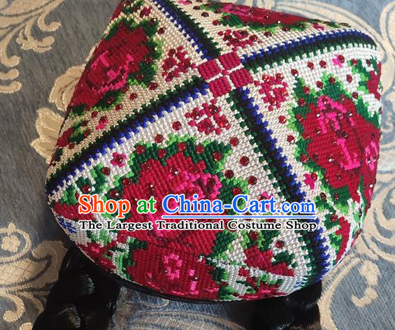 Chinese Traditional Uyghur Nationality Embroidered Red Flowers Hat Ethnic Folk Dance Stage Show Headwear for Women