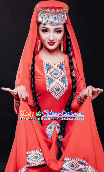 Chinese Traditional Tajik Nationality Dance Red Dress Xinjiang Ethnic Stage Show Costume for Women