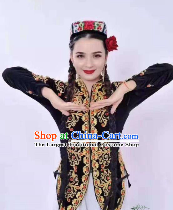 Chinese Traditional Uyghur Nationality Dance Embroidered Black Vest Xinjiang Ethnic Stage Show Costume for Women