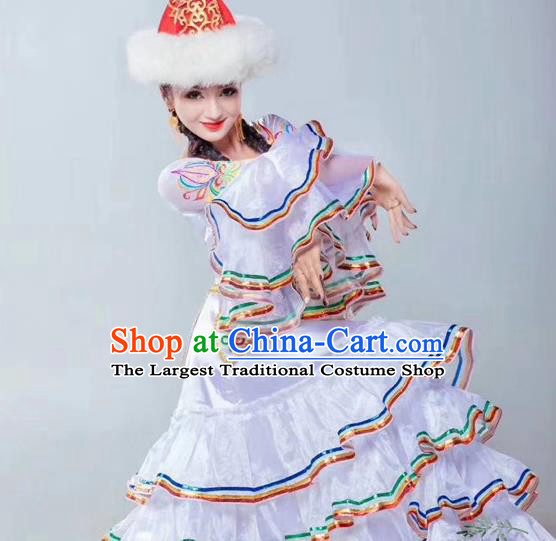Chinese Traditional Tajik Nationality Dance White Dress Xinjiang Ethnic Stage Show Costume for Women