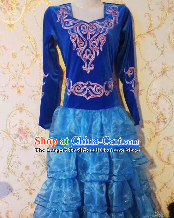 Chinese Traditional Kazak Nationality Dance Blue Dress Xinjiang Ethnic Stage Show Costume for Women