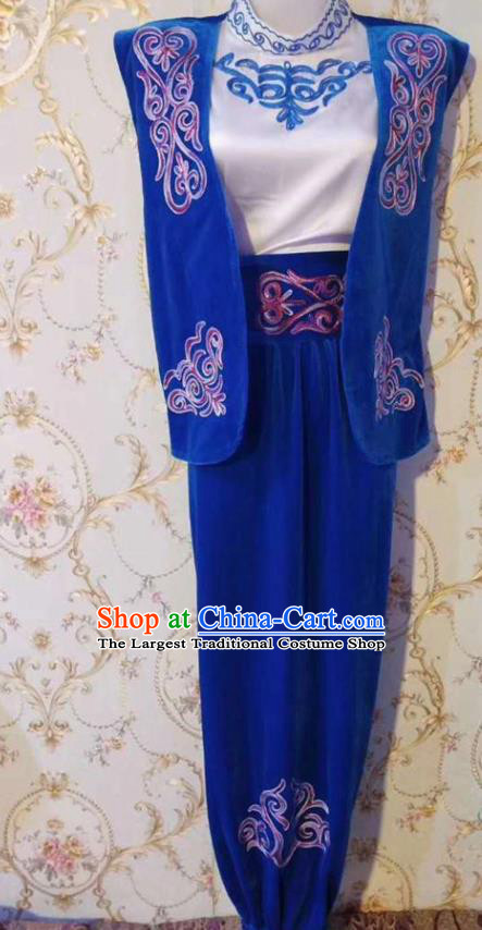 Chinese Traditional Kazak Nationality Blue Outfits Xinjiang Ethnic Folk Dance Stage Show Costume for Men