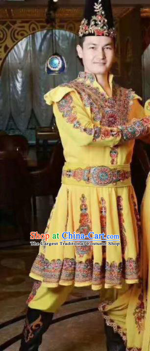 Chinese Traditional Uyghur Nationality Yellow Outfits Xinjiang Ethnic Folk Dance Stage Show Costume for Men