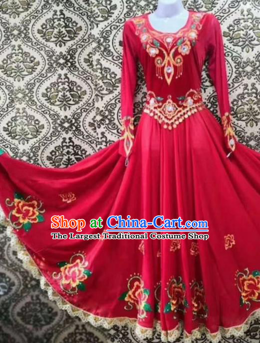 Chinese Traditional Uyghur Nationality Folk Dance Red Dress Xinjiang Ethnic Stage Show Costume for Women