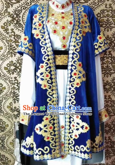 Chinese Traditional Uyghur Nationality Embroidered Blue Outfits Xinjiang Ethnic Folk Dance Stage Show Costume for Men