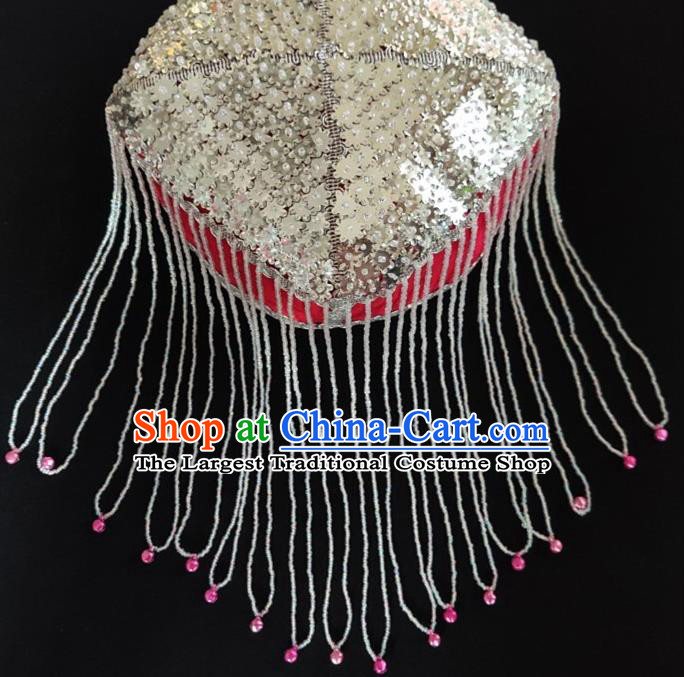 Chinese Traditional Uyghur Nationality Argent Sequins Tassel Red Hat Ethnic Folk Dance Stage Show Headwear for Women