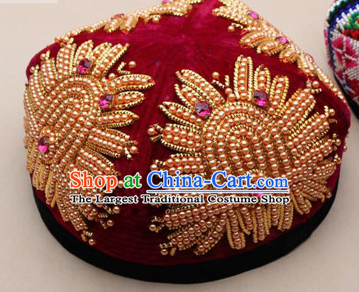 Chinese Traditional Uyghur Nationality Embroidered Beads Red Hat Ethnic Folk Dance Stage Show Headwear for Women